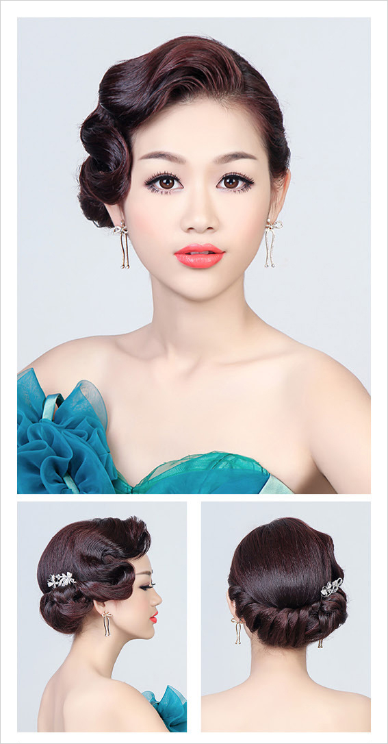 充满魅惑的手推波纹新娘发型教程